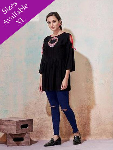 Designer Black Color Rayon Top