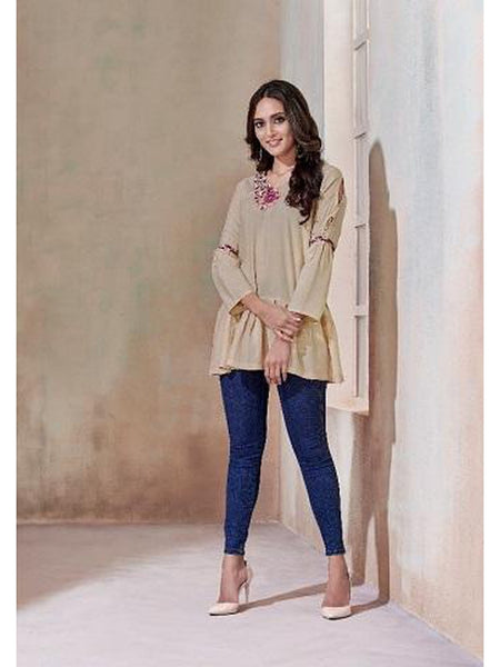 Designer Cream Color Rayon Top