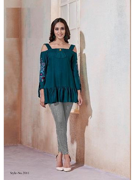 Designer Teal Blue Color Rayon Top
