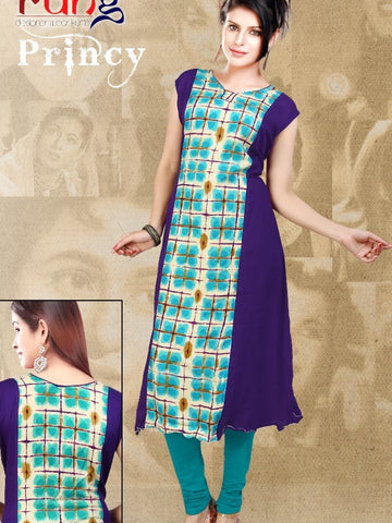 Purple and Blue Rayon Kurti