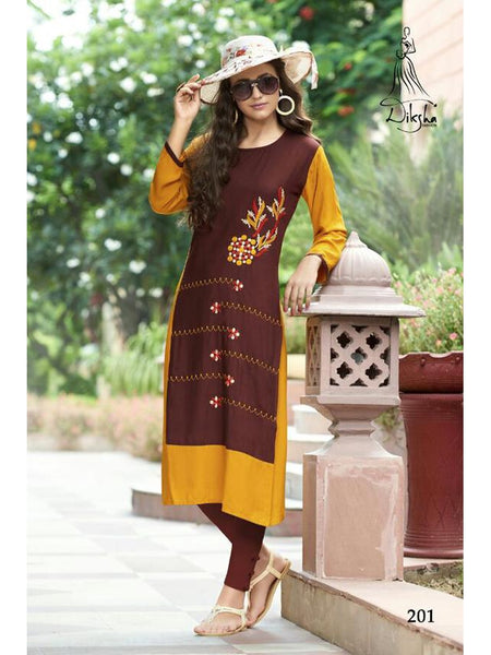 Beautiful Brown Color Heavy Rayon Embroidered Work Straight Cut Kurti