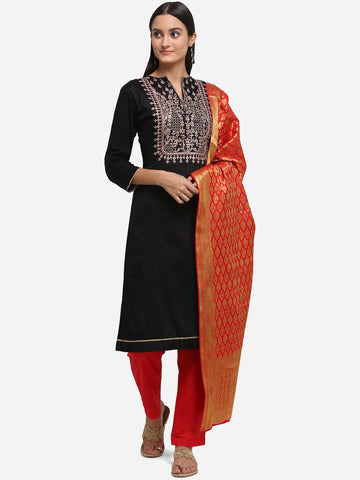 Black Jam Silk Embroidered Straight Cut Suit
