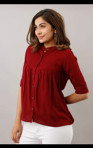 Maroon Cotton Printed Top