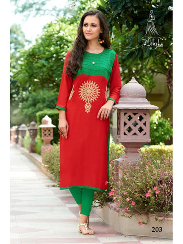 Beautiful Red and Green Color Heavy Rayon Embroidered Work Straight Cut Kurti