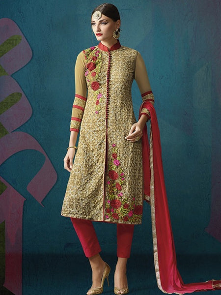 Fallow and Red Anarkali Suit - PurpleTulsi.com  - 1