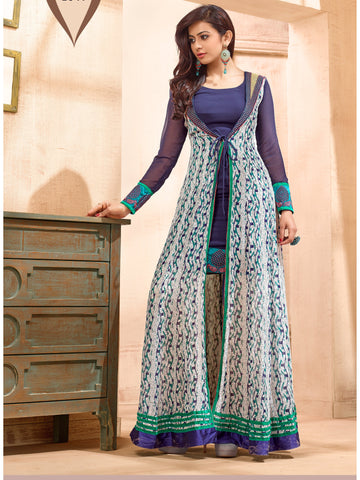 Beautiful and Designer Blue Color Anarkali Suit