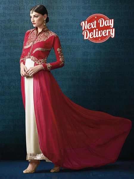 Red and White Anarkali Suit