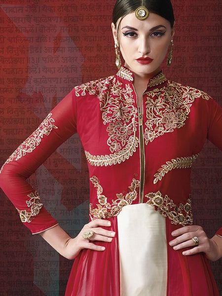 Red and White Anarkali Suit - PurpleTulsi.com