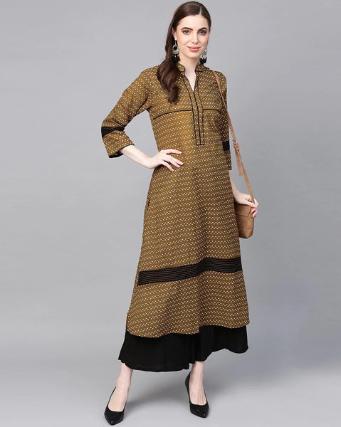 Golden Cotton Printed Anarkali Kurti