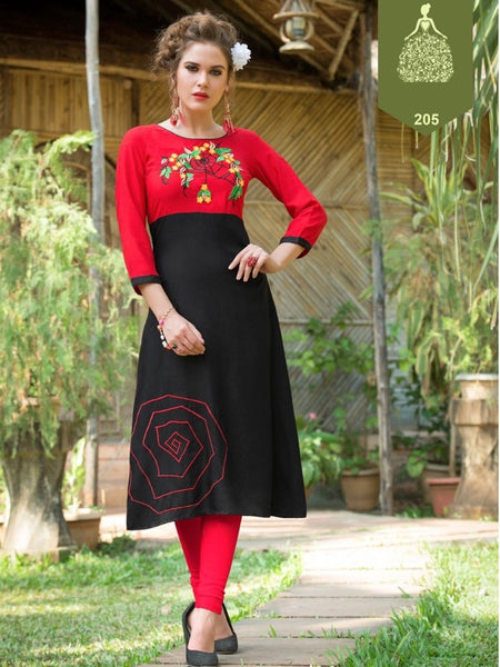 Red and Black Rayon Kurti - PurpleTulsi.com