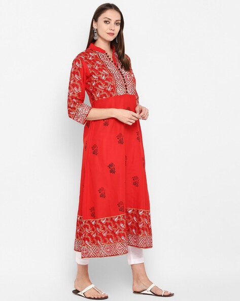 Chilli Red Cotton Printed Anarkali Kurti