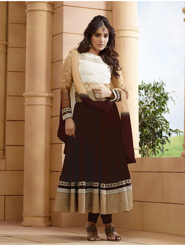 Beautiful and Designer Brown Color Anarkali Suit