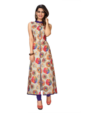 Multicolor Chanderi Cotton Digital Printed Kurti
