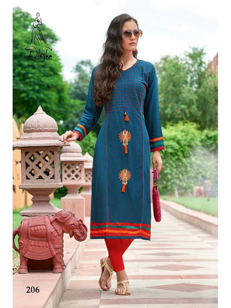 Beautiful Blue Color Heavy Rayon Embroidered Work Straight Cut Kurti