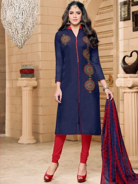 Indigo Blue and Red Straight Cut Suit