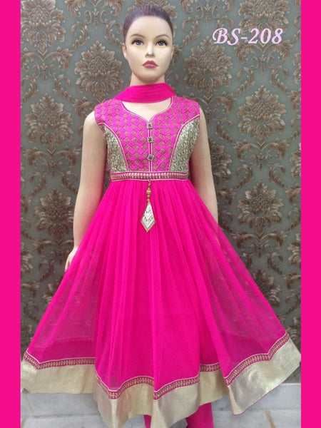 Magenta Kids Anarkali Suit - PurpleTulsi.com