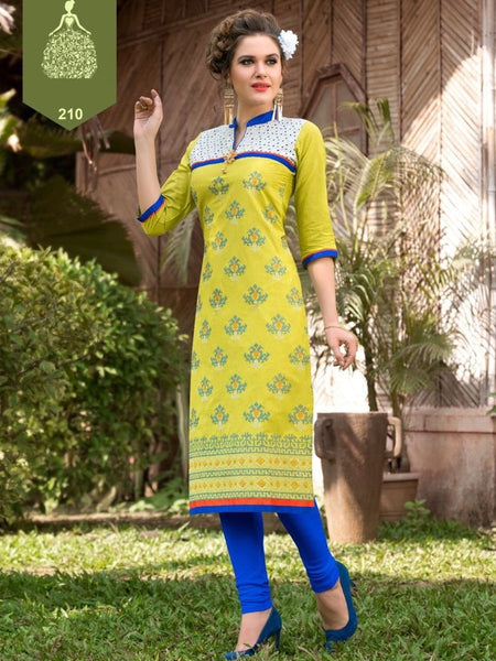 Lime Green Rayon Kurti - PurpleTulsi.com