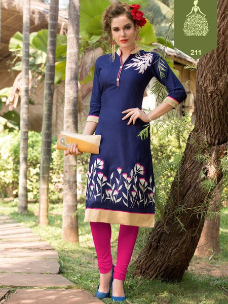 Indigo Blue and White Rayon Kurti - PurpleTulsi.com