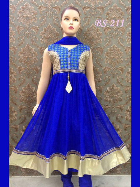 Royal Blue Kids Anarkali Suit - PurpleTulsi.com