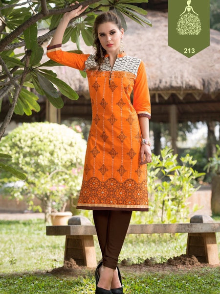 Fire Orange Rayon Kurti - PurpleTulsi.com
