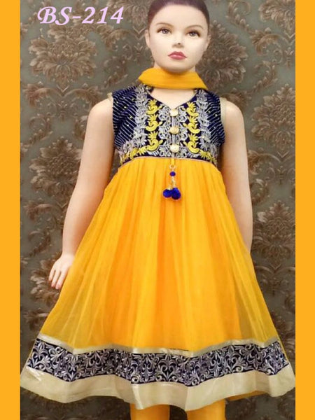 Yellow Kids Anarkali Suit - PurpleTulsi.com