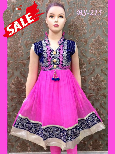 Pink and Blue Kids Anarkali Suit - PurpleTulsi.com