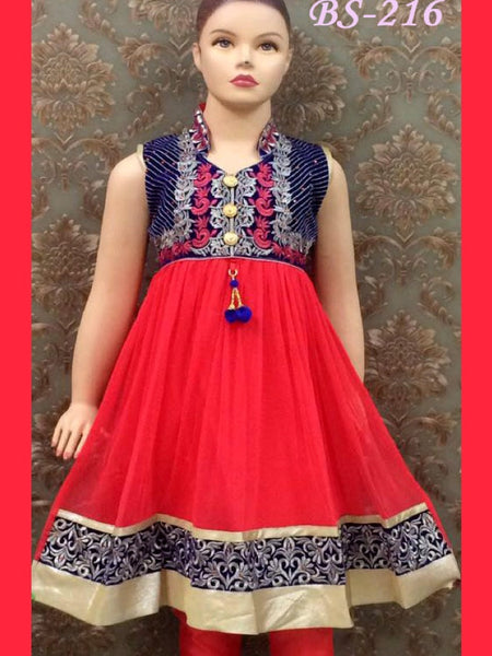 Red and Blue Kids Anarkali Suit - PurpleTulsi.com