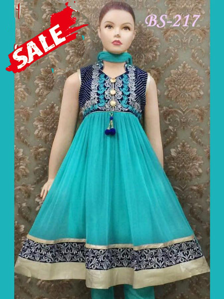 Turquoise and Navy Blue Kids Anarkali Suit - PurpleTulsi.com