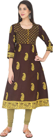 Brown Cotton Printed Anarkali Kurti