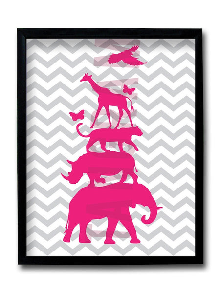 Animal Chevron Framed Art