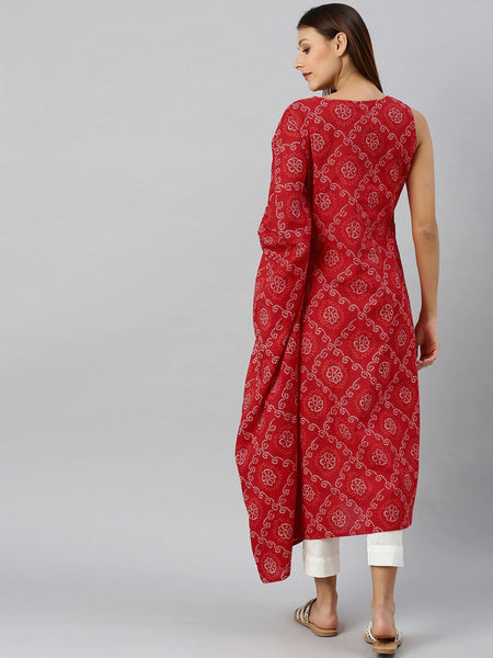 Red Color Cotton Printed Straight Cut Kurti