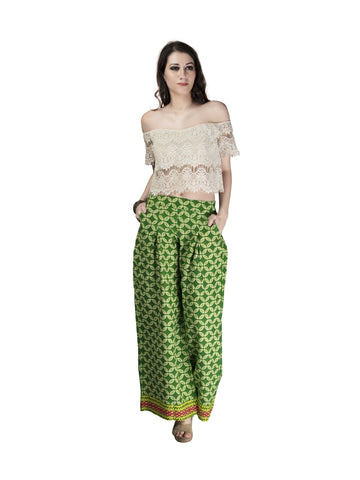 Beautiful Printed Green Color Cotton Palazzo