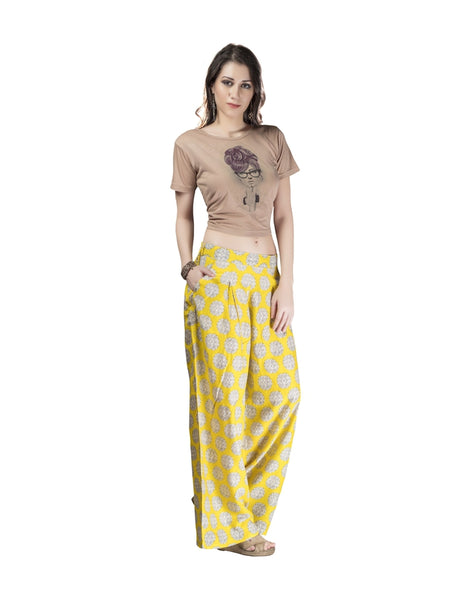 Beautiful Printed Yellow Color Cotton Palazzo