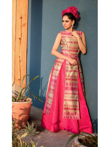 Pink Color Taffeta Silk Long straight Kurti with Skirt