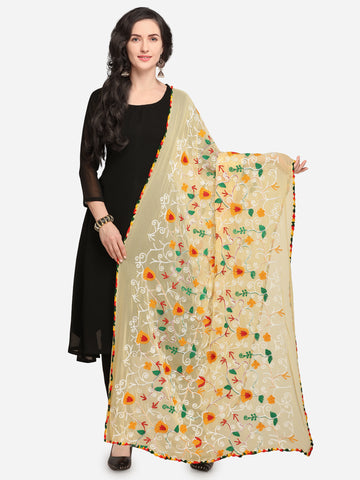 Light Yellow Chiffon Phulkari Worked Dupatta