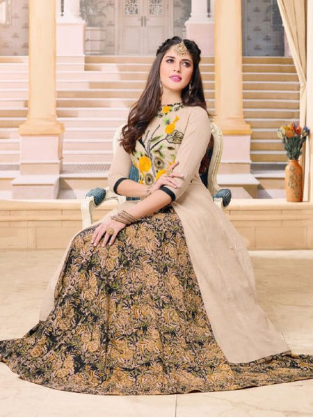 Beige and Multicolour Dress Set