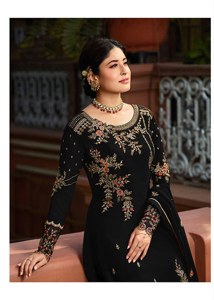Designer Black Embroidered Georgette Straight Cut Suit