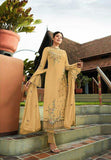 Designer Mustard Embroidered Long Georgette Straight Cut Suit