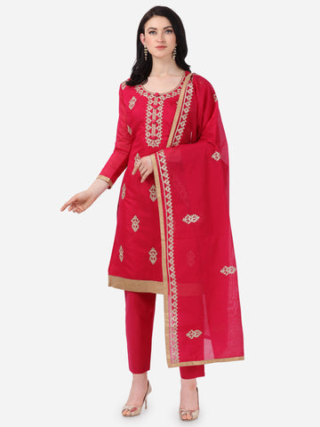 Maroon Chanderi Silk Embroidered Straight Cut Suit