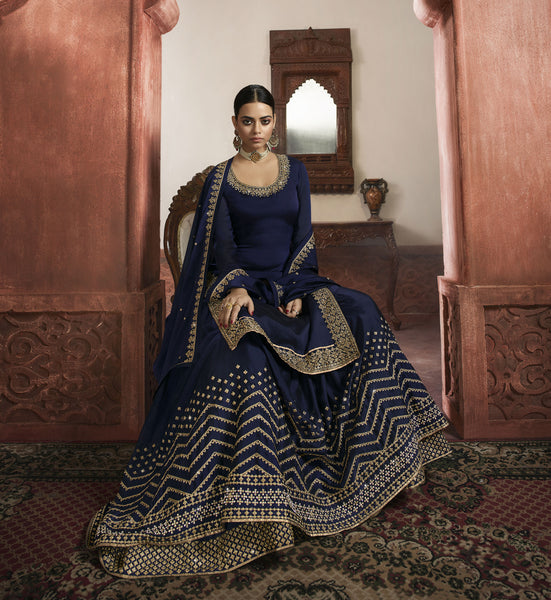 Navy Blue Rangoli Georgette Embroidered Top with Skirt, Churidar and Dupatta