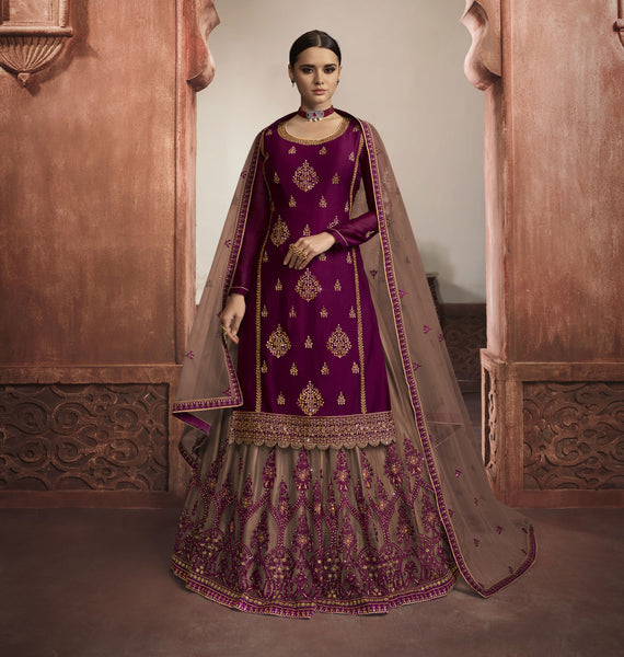 Wine Rangoli Georgette Embroidered Top with Skirt, Churidar and Dupatta