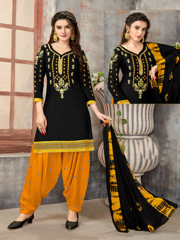 Black Glaze Cotton Embroidered Patiala Suit