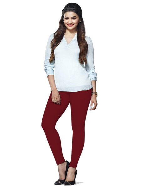 Maroon Cotton Lycra Leggings - PurpleTulsi.com