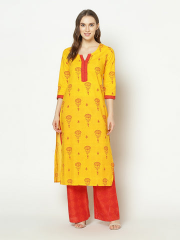 Yellow And Red Cotton Kurti With Palazzo