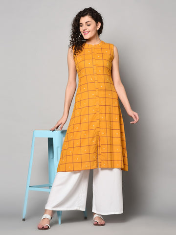 Yellow Cotton Anarkali Kurti