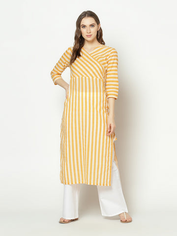 White And Yellow Striped Cotton Straight Cut Kurti