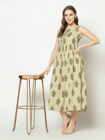 Olive Green Cotton Printed Anarkali Kurti