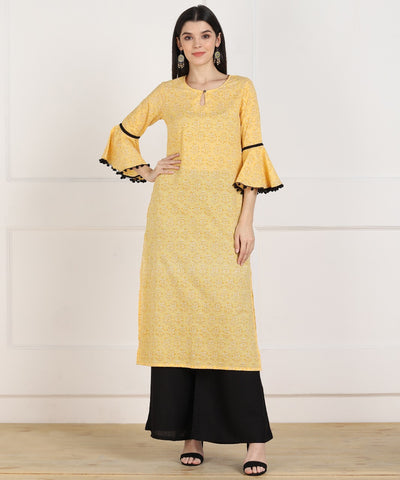 Yellow Cotton Printed Straight Cut Kurti