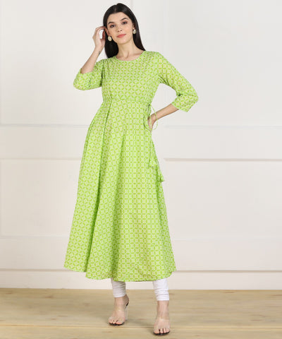 Green Cotton Printed Anarkali Kurti