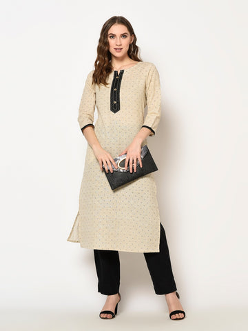 Beige Cotton Printed Kurti With Palazzo
